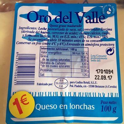 Oro del Valle - Producte - es