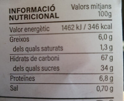 pa de pessic - Nutrition facts - es