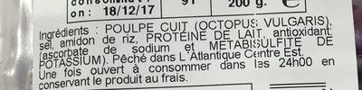 Tentacules de Poulpe Cuit - Ingrédients