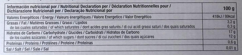 Sorbetes de Horchata - Informació nutricional