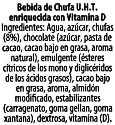 Bebida de chufa con sabor a chocolate - Ingredientes