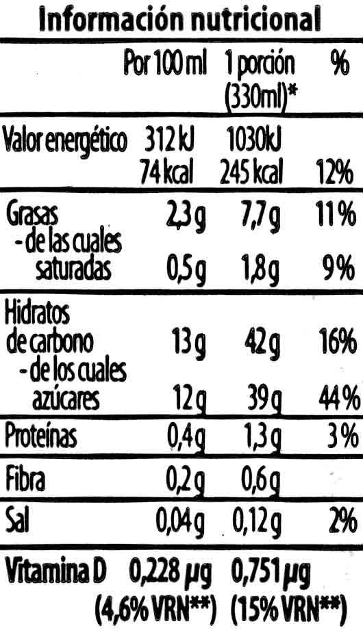 Bebida de chufa con sabor a café - Informations nutritionnelles - es