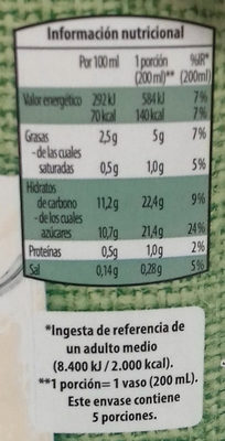 Horchata de chufa - Información nutricional - es