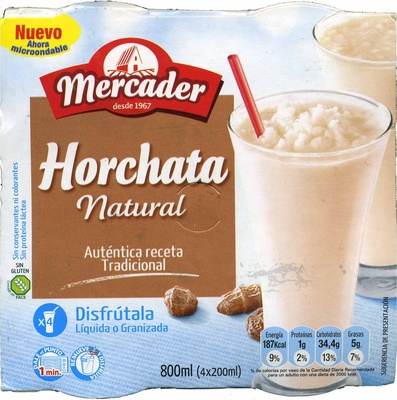 Horchata natural granizada sin gluten - Producto - es
