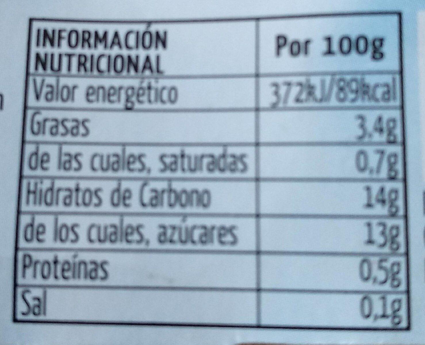 Horchata natural granizada sin gluten - Informations nutritionnelles - es