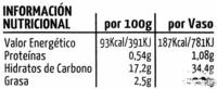 Horchata Natural - Informations nutritionnelles