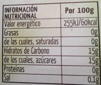 Limón granizado sin gluten - Informations nutritionnelles - es