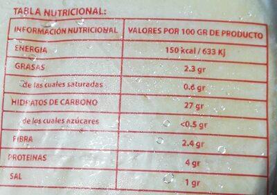 Coques de dacsa - Información nutricional - es