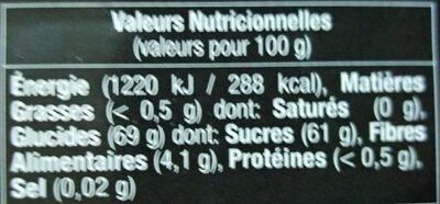 Pâte de coing - Informations nutritionnelles - fr
