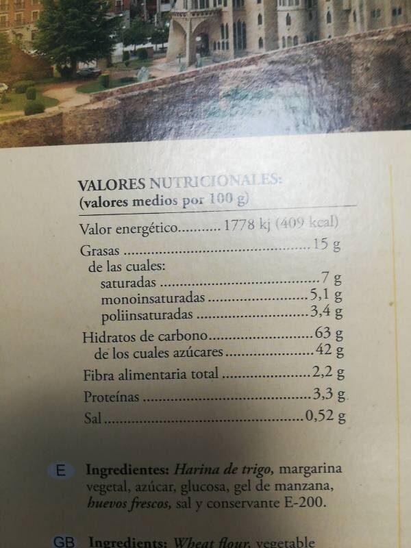 Hojaldres de Astorga - Informations nutritionnelles - es