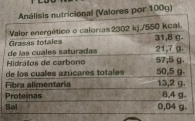 Chocolate negro con menta - Información nutricional