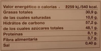 Chocolate Familiar à La Taza - Información nutricional - es