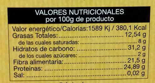 Cacao Puro 100% - Información nutricional