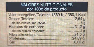 Cacao puro 100% desgrasado - Informació nutricional - es