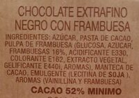 Orbea chocolate negro con frambuesas - Ingredientes - es