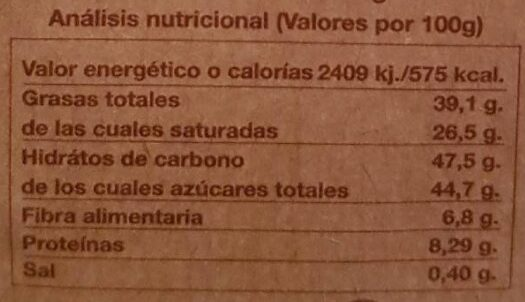 Orbea chocolate negro con frambuesas - Informação nutricional - es