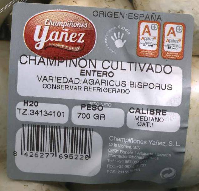 "Champiñones enteros ""Champiñones Yañez"" - Ingredients - es"