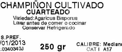 """Champiñones cuarteados """"Champiñones Yañez"""" - Ingrédients - es"""