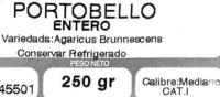 """Champiñones Portobello enteros """"Champiñones Yañez"""" - Ingrédients"""