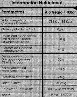 """Ajos negros """"Sousacamp"""" - Informations nutritionnelles - es"""