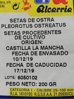 Setas de ostra - Voedingswaarden - es