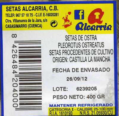 """Setas de ostra """"Alcarria"""" (400 g) - Ingrediënten"""