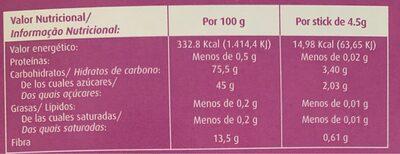 Té verde soluble con menta y alto contenido en fibra - Información nutricional - es