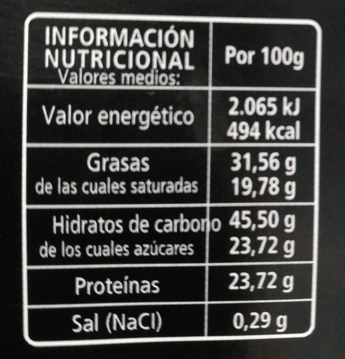 Chocolate negro con naranja (75% cacao) - Nutrition facts