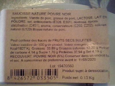 Saucisson au poivre - Informations nutritionnelles - fr