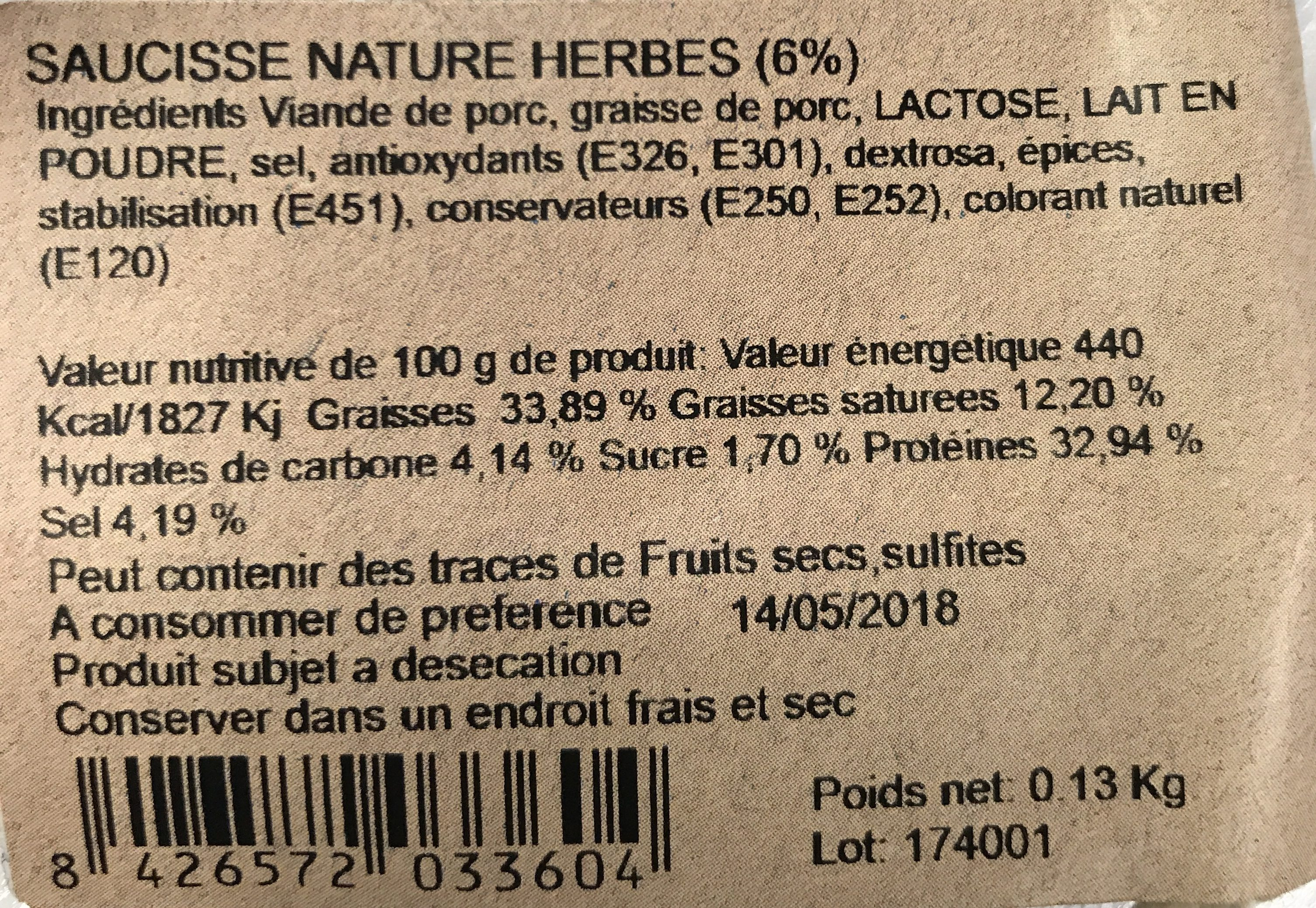 Saucisse nature herbes - Ingrédients - fr
