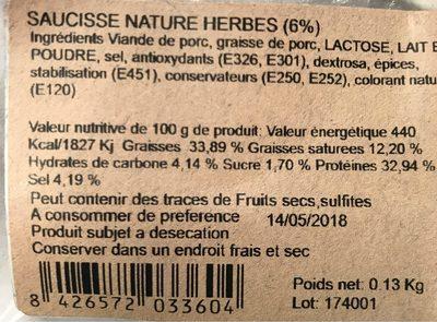 Saucisse nature herbes - Informations nutritionnelles - fr