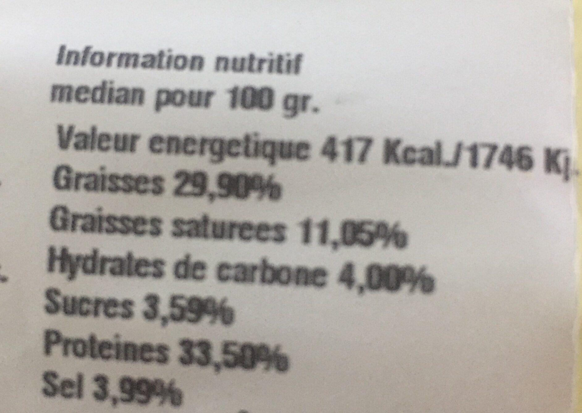 Fuet Catalan - Información nutricional - es