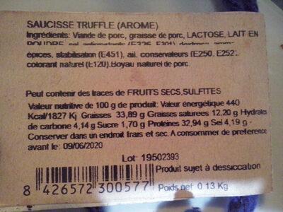 Saucisse truffle (arome) - Informations nutritionnelles - fr