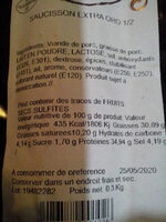 Saucisson  extra oro 1/2 - Ingrédients - fr