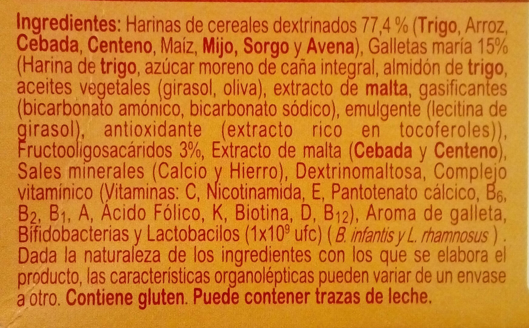 Blevit plus 8 cereales y galletas maría - Ingredients