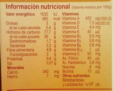 Blevit plus 8 cereales y galletas maría - Nutrition facts