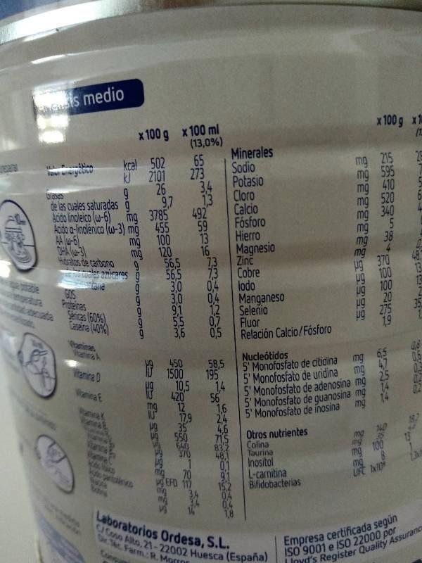 Optimum 1 - Nutrition facts - es