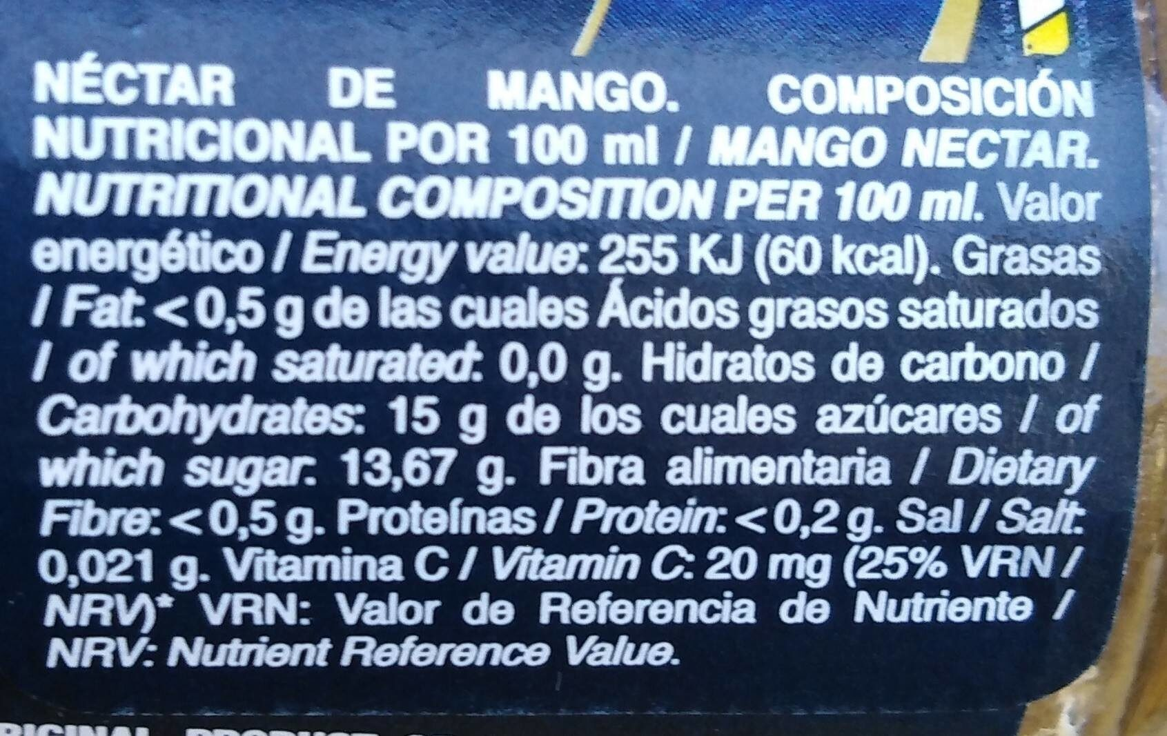 Mango Juice - Nutrition facts - fr