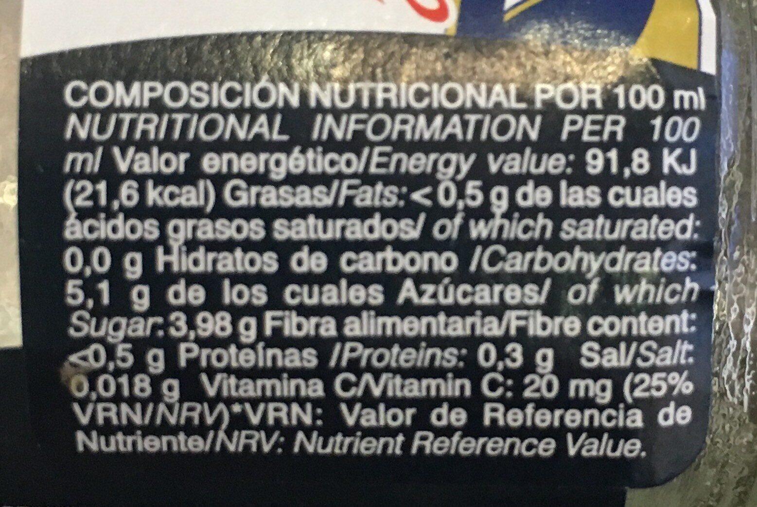 Nectar de Melocoton - Información nutricional