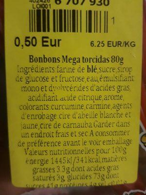 Torcidas De Fresa 80 GR - Ingredientes