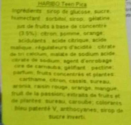 Teen p!ca - Ingredientes - fr