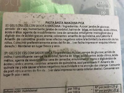 Pasta Fruta Sabor Manzana - Ingredients