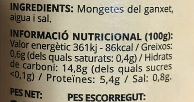 Monxeta del ganxet - Nutrition facts - en