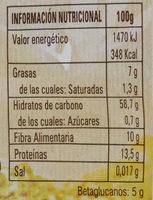 Oat flakes - Información nutricional