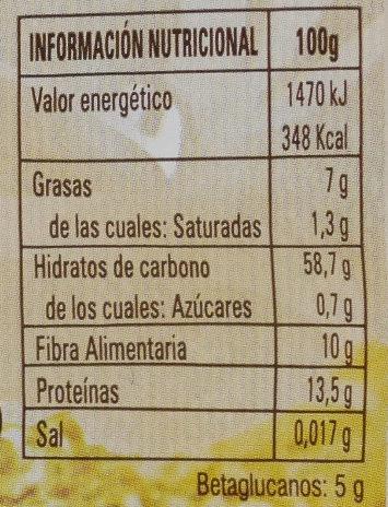 Oat flakes - Información nutricional - es