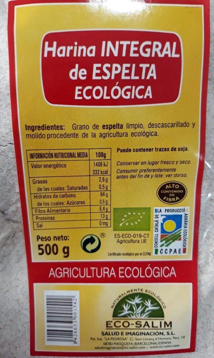 Harina integral de espelta ecológica - Product - es