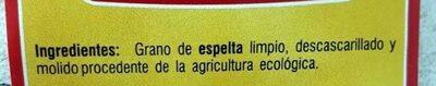 Harina integral de espelta ecológica - Ingredients - es