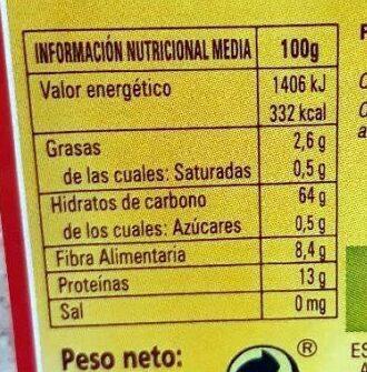 Harina integral de espelta ecológica - Nutrition facts - es