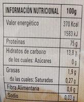 Gluten de trigo ecológico - Información nutricional