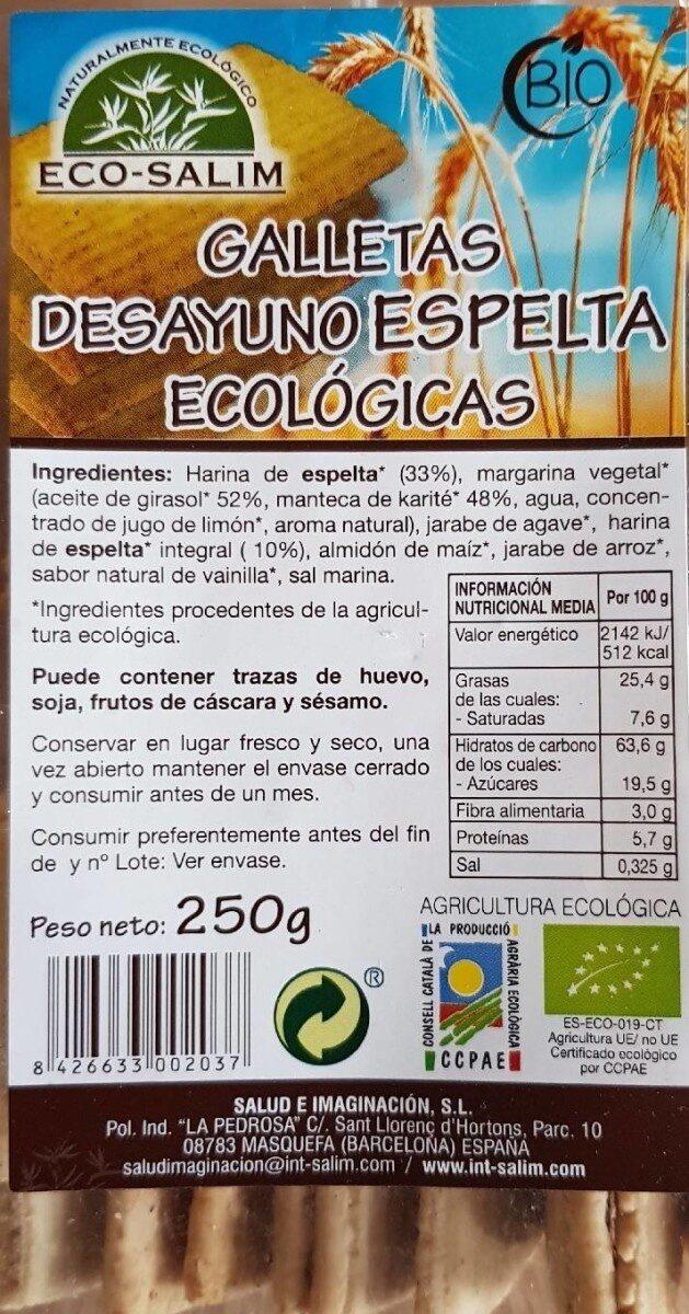 Galletas desayuno espelta ecológicas - Producto - es